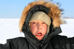 Boy in winter Stock Photos