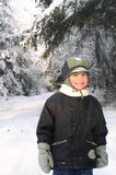 Boy in Winter. A smile in wintertime stock photo