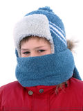 Boy in winter clothes with a face knotted scarf Royalty Free Stock Photos