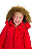 Boy in winter coat. Little boy in red winter coat isolated on white background Stock Image