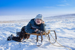 Boy in winter emotions Royalty Free Stock Photo