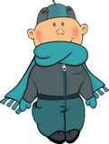 A boy in a winter jacket and a cap cartoon Royalty Free Stock Photography
