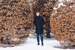 boy in a winter jacket among the winter trees royalty free stock photos