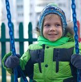 Boy in winter park Royalty Free Stock Photo