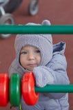 Boy in winter park Stock Photos
