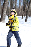 Boy in a winter park Royalty Free Stock Photos