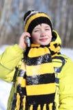 Boy in a winter park Royalty Free Stock Photos