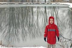Boy in Winter Scene Stock Photography