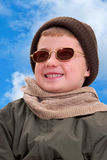 Boy in Winter Sun Stock Photography