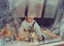 Boy in winter window Stock Photography