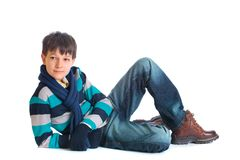 Boy in wintry clothing Royalty Free Stock Images