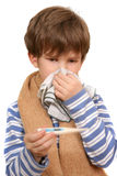 The boy wipes nose by a handkerchief Stock Photo