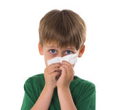 Boy wipes a nose with a napkin Stock Photography