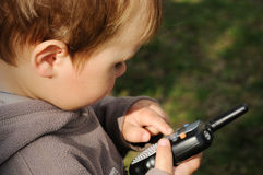 Boy with wireless station Royalty Free Stock Photography