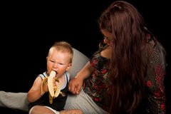 Boy wit banana Royalty Free Stock Images