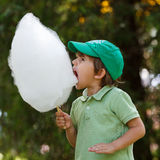 Boy wit candyfloss Stock Images