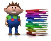 Boy wit stack of books Royalty Free Stock Image
