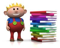 Boy wit stack of books. Cute brownhaired boy standing beside a big stack of books - 3d rendering/illustration Stock Image