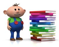 Boy wit stack of books. Cute brownhaired boy standing beside a big stack of books - 3d rendering/illustration Royalty Free Stock Images