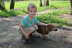 Boy With Badgerdog Stock Image
