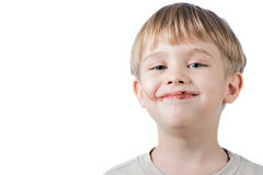 Boy With Chocolate On The Face Isolated Royalty Free Stock Photo