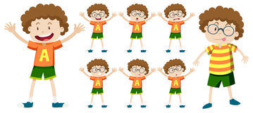 Free Boy With Curly Hair In Different Expressions Stock Image - 77386881