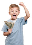 Boy With Dollars Royalty Free Stock Images
