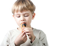Boy With Ice-cream Isolated Royalty Free Stock Photos