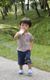 Boy With Milk Bottle Royalty Free Stock Images