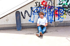 Boy With Skate Board At The Skate Park Stock Images