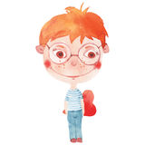 Boy witn heart. Watercolor smiling boy  with red heart Royalty Free Stock Photo