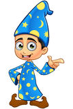 Boy Wizard In Blue - Pointing. A cartoon illustration of a Boy Wizard dressed in a blue robe Royalty Free Stock Image