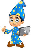 Boy Wizard In Blue - Thumbs Up With Laptop. A cartoon illustration of a Boy Wizard dressed in a blue robe Stock Image