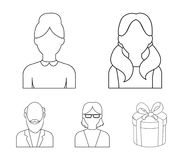Boy, a woman with glasses, a grandfather with a beard, a girl with tails.Avatar set collection icons in outline style. Vector symbol stock illustration Royalty Free Stock Image