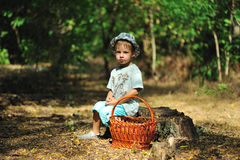 The boy in the wood Stock Images