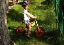 boy-on-wooden-bicycle Royalty Free Stock Image