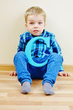 Boy with  wooden letter Stock Photography