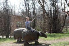 Boy on a wooden sheep Stock Photos