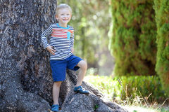 Boy in the woods Stock Images