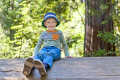 Boy in the woods Stock Photos