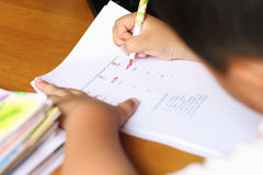 The boy work homework Stock Photos