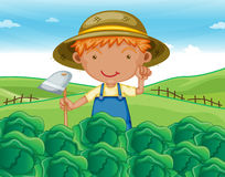 Boy working in farms. Illustration of a boy working in farms Royalty Free Stock Photography