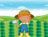 Boy working in farms. Illustration of a boy working in farms Royalty Free Stock Images