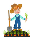 Boy working in farms Stock Image