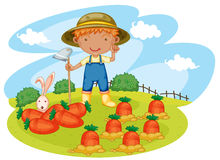 Boy working in farms Royalty Free Stock Photography