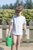 Boy working the garden Stock Photos