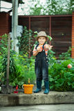 Boy working in the garden Royalty Free Stock Image