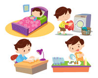 Boy working in home  many action Royalty Free Stock Photos