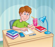 Boy Working On A Homework Assignment. Cartoon illustration of a boy in a green t-shirt working on a homework assignment while holding a glass with a fruit drink Stock Photos