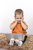 Boy working whit laptop Royalty Free Stock Images